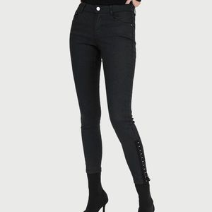 Zara Super Skinny Distressed Coated Jeans